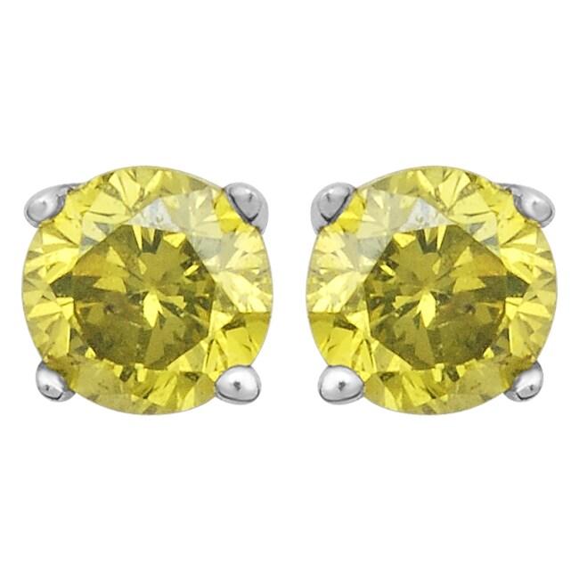 10k White Gold 1/8ct TDW Treated Yellow Diamond Stud Earrings