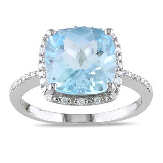 Miadora Sterling Silver 5 1/4 ct TGW Bue Topaz and 1/10 ct TDW Diamond Ring (G-H, I3)