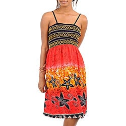 Stanzino Women's Red Black Spaghetti Strap Mix Print Dress