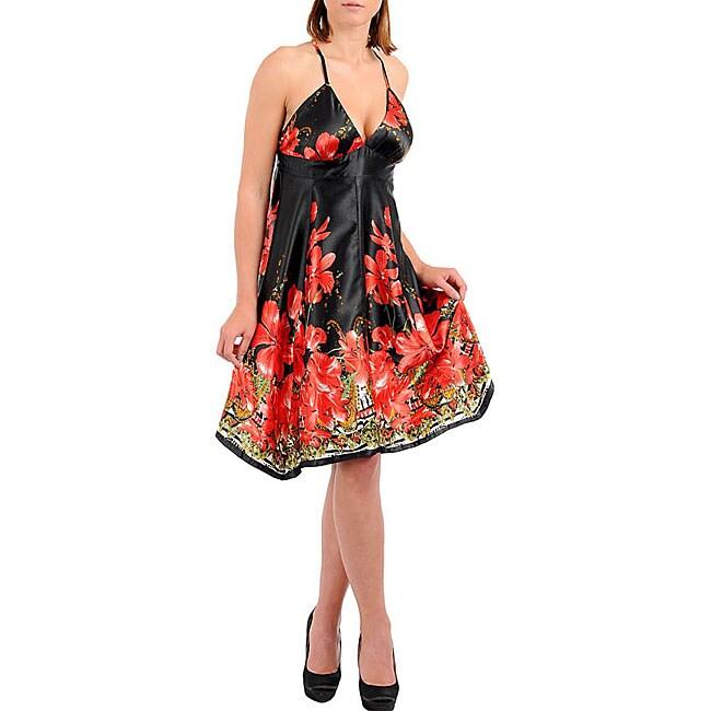 Stanzino Women's Black Red Halter Floral Print Dress