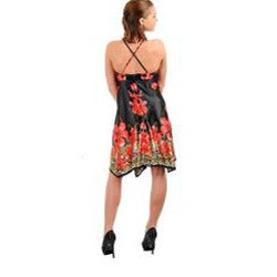 Stanzino Women's Black Red Halter Floral Print Dress
