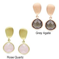 Miadora Goldtone Gemstone Dangle Earrings