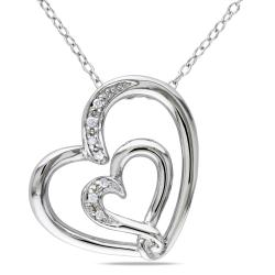 Miadora Sterling Silver Diamond Accent Double Heart Necklace with 'Mom' Inscription