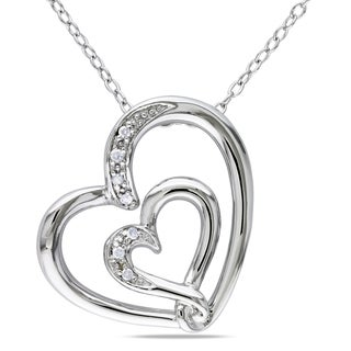 Haylee Jewels Sterling Silver Diamond Accent Double Heart Necklace with 'Mom' Inscription
