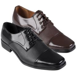 Boston Traveler Men's Topstitched Square Toe Faux Leather Oxfords