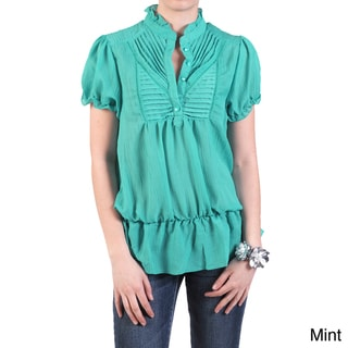 Journee Collection Women's Short-sleeve Ruffled Accent Blouse