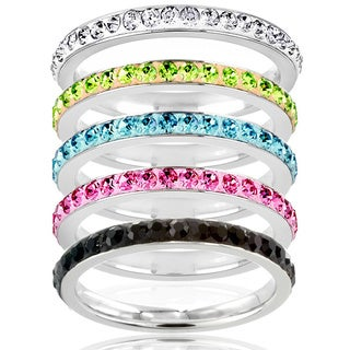 West Coast Jewelry Stainless Steel Colored Cubic Zirconia Stackable Eternity Band