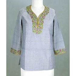 Cotton 'Grey Floral' Tunic Blouse (India)
