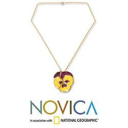 Natural Flower 'Pretty Pansy' Gold Overlay Necklace (Thailand)
