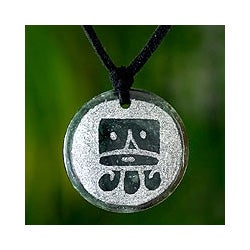 Sterling Silver 'Ajpu Maya Life Force' Jade Necklace (Guatemala)