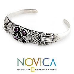Sterling Silver 'Twin Owls' Amethyst Cuff Bracelet (Indonesia)