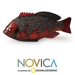Sese Wood and Aluminum 'Ga Redfish' Sculpture (Ghana)