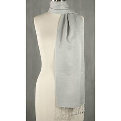 Wool and Silk Blend 'Kashmiri Grey' Scarf (India)
