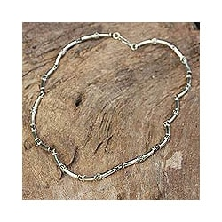 Sterling Silver Chain Necklace 'Bamboo' (Thailand)