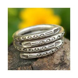 Sterling Silver 'Hill Tribe Spiral' Wrap Ring (Thailand)