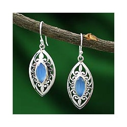 Sterling Silver 'Mumbai Sky' Chalcedony Earrings (India)