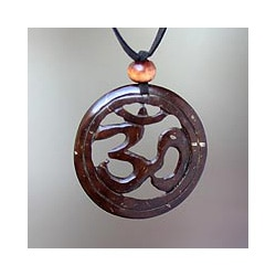 Coconut Shell 'Java Yoga' Polyester Necklace (Indonesia)