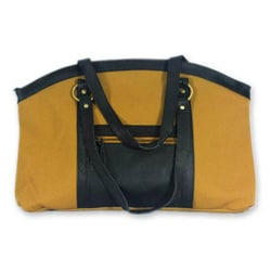Cotton and Leather 'Darjeeling Gold' Large Shoulder Bag (India)