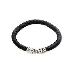 Leather Handcrafted 'Rattle Snake Tales' Silver Bracelet (Indonesia)