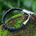 Leather Men's 'Shark' Sterling Silver Bracelet (Indonesia)