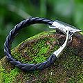 Leather Men's 'Shark' Sterling Silver Bracelet  (Indonesia)