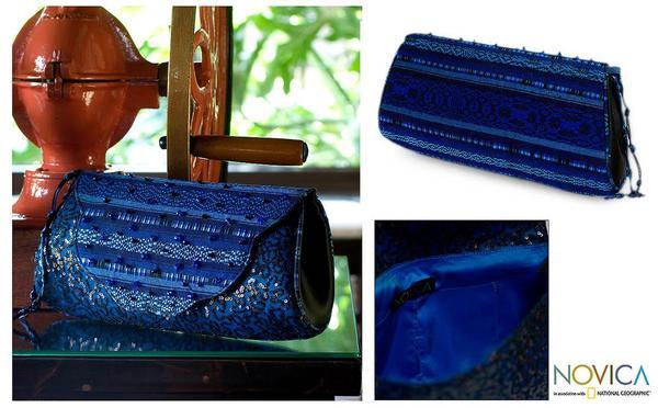 Rayon 'Atitlan Romance' Beaded Medium Clutch Handbag (Guatemala)