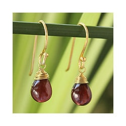 Gold Overlay 'Sublime Beauty' Garnet Dangle Earrings (Thailand)