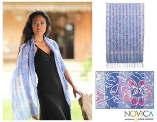 Silk Handcrafted 'Java Sky Flowers' Batik Shawl (Indonesia)