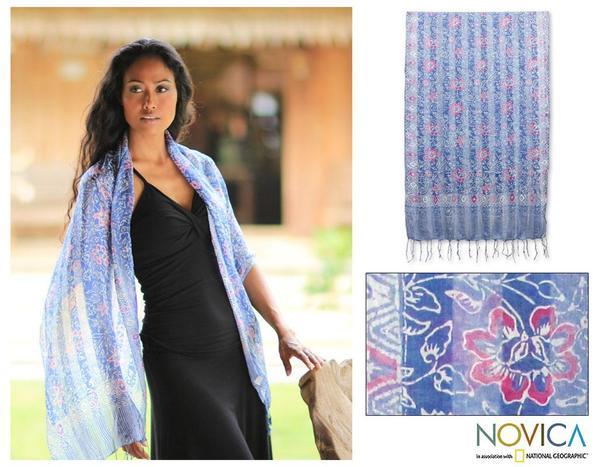 Silk Handcrafted 'Java Sky Flowers' Batik Shawl (Indonesia)