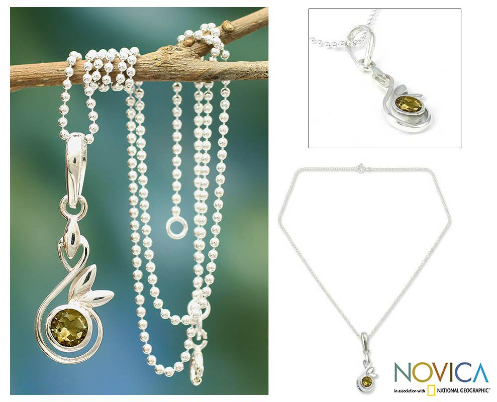 Sterling Silver 'New Growth' Citrine Necklace (India)