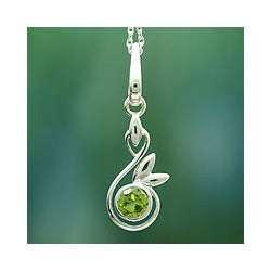 Sterling Silver 'New Growth' Peridot Necklace (India)