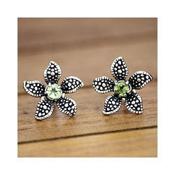 Sterling Silver 'Timeless Jasmine' Peridot Flower Earrings (Indonesia)