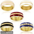 West Coast Jewelry Goldplated Stainless Steel and Colored Enamel Stripe Ring