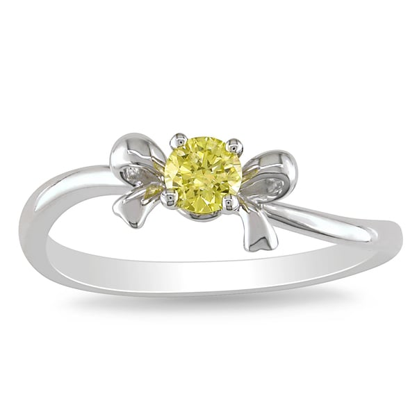 Miadora 10k White Gold 1/5ct TDW Yellow Diamond Bow Ring