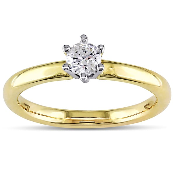 Miadora 14k Yellow Gold 1/4ct TDW 6-Prong Certified Round Diamond Solitaire Ring (H-I, I1-I2)