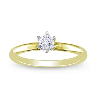 Miadora 14k Yellow Gold 1/4ct TDW 6-Prong Round Diamond Solitaire Ring (H-I, I1-I2)