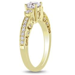 Miadora 10k Yellow Gold 1ct TDW Diamond 3-stone Engagement Ring (H-I, I2-I3)