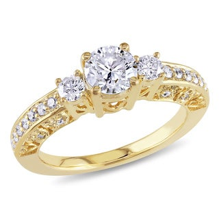 Miadora 10k Yellow Gold 1ct TDW Diamond 3-stone Engagement Ring (H-I, I2-I3) with Bonus Earrings