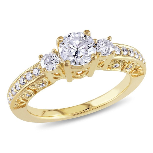 Miadora Signature Collection 10k Yellow Gold 1ct TDW Diamond Three stone Ring (H-I, I2-I3)