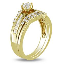 Miadora 14k Yellow Gold 3/4ct TDW Diamond Bridal Ring Set (H-I, I2-I3)