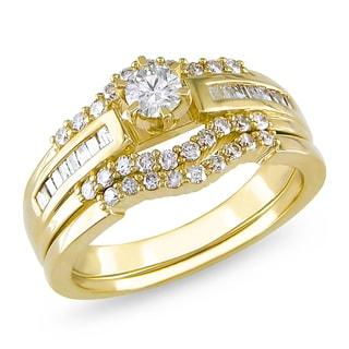 Miadora 14k Yellow Gold 3/4ct TDW Diamond Bridal Ring Set (H-I, I2-I3)