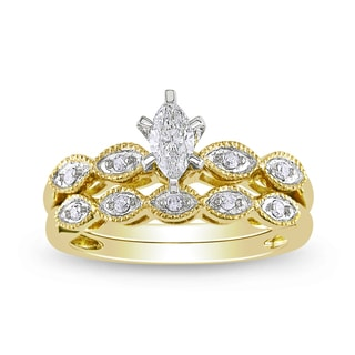Miadora 10k Yellow Gold 1/3ct TDW Diamond Bridal Ring Set (H-I, I1-I2)