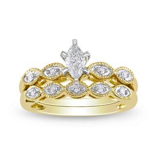 Miadora 10k Yellow Gold 1/3ct TDW Diamond Bridal Ring Set (H-I, I1-I2)