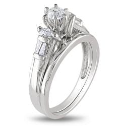Miadora 10k White Gold 1/2ct TDW Diamond Bridal Ring Set (H-I, I2-I3)