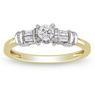 Miadora 10k Gold 1/3ct TDW Round and Baguette Two-Tone Diamond Ring (H-I, I2-I3)