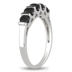 Miadora Sterling Silver Round 3/4ct TDW Black Diamond Ring
