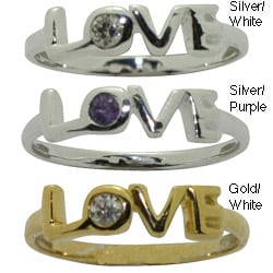 Gioelli Sterling Silver Purple Cubic Zirconia Love Baby Ring