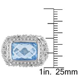 Miadora Sterling Silver Sky Blue Topaz and 1/10ct TDW Diamond Ring (H-I, I2-I3)