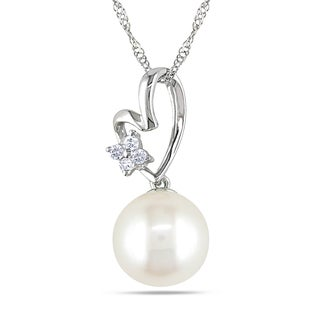Miadora 10k White Gold Cultured Freshwater Pearl and Diamond Accent Necklace