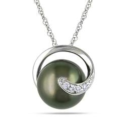 Miadora 14k White Gold Black Tahitian Pearl and Diamond Accent Necklace